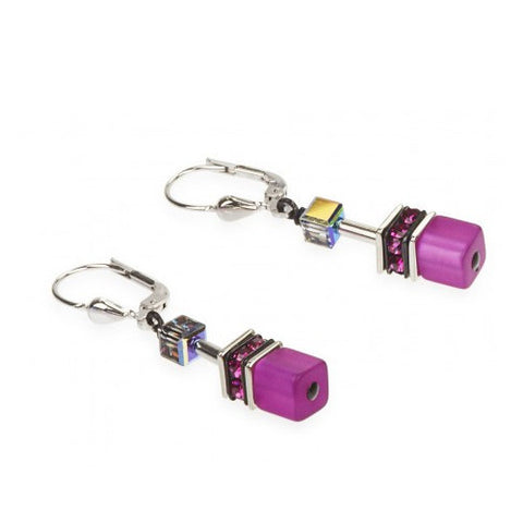Coeur de Lion Cat Eye multicolor cubes and crystals earrings
