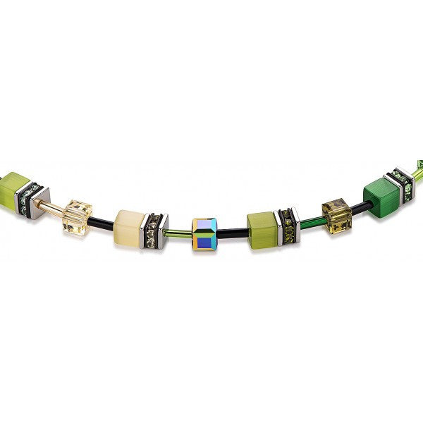 Coeur de Lion Cat Eye multi-green cubes and crystals necklace