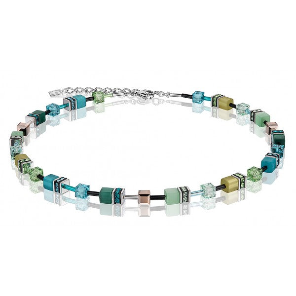Coeur de Lion Cat Eye teal cubes and crystals necklace