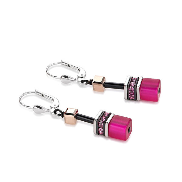 Coeur de Lion Cat Eye fuchsia cubes and crystals earrings
