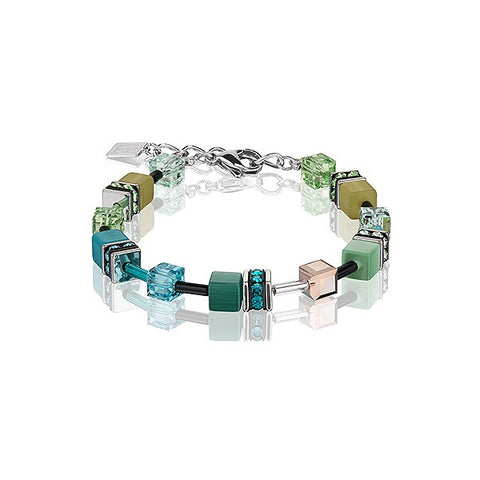 Coeur de Lion Cat Eye teal cubes and crystals bracelet