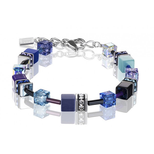 Coeur de Lion Cat Eye violet-turquoise cubes and crystals bracelet