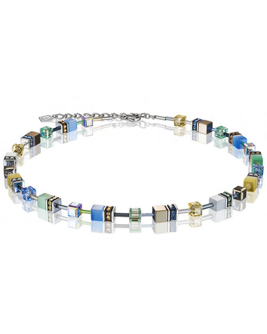 Coeur de Lion Cat Eye blue-green-gold cubes and crystals necklace
