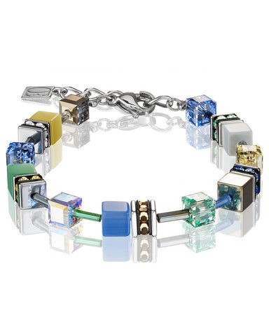 Coeur de Lion Cat Eye blue-green-gold cubes and crystals bracelet