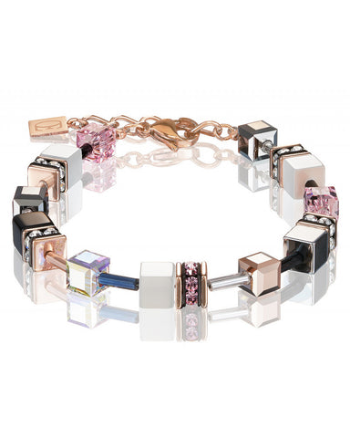 Coeur de Lion Cat Eye pink and gold cubes and crystals bracelet