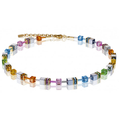 Coeur de Lion Cat Eye multicolor-hematite cubes and crystals necklace