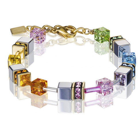 Coeur de Lion Cat Eye multicolor-hematite cubes and crystals bracelet