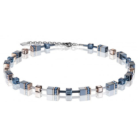 Coeur de Lion Cat Eye blue-grey cubes and crystals necklace