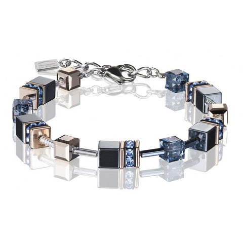 Coeur de Lion Cat Eye blue-grey cubes and crystals bracelet