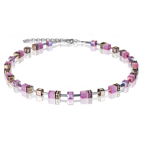 Coeur de Lion Cat Eye pink cubes and crystals necklace