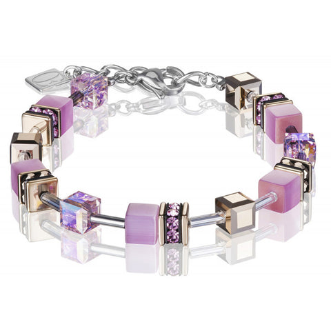 Coeur de Lion Cat Eye pink cubes and crystals bracelet