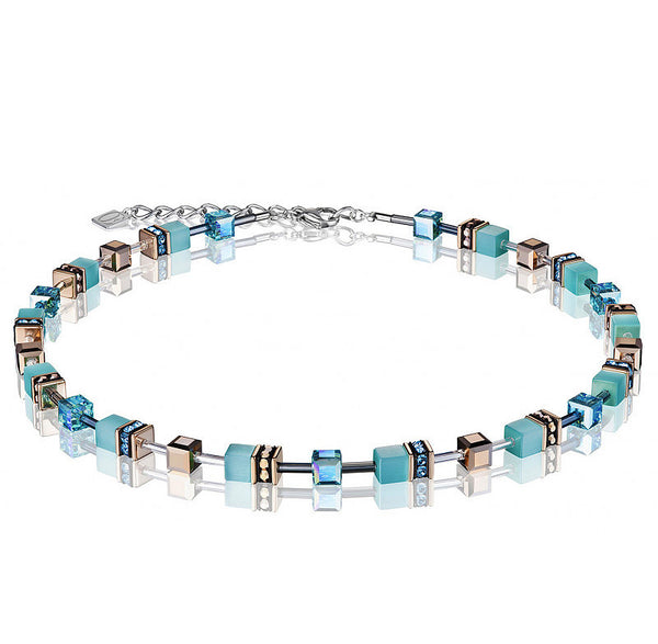 Coeur de Lion Cat Eye aqua/gold cubes and crystals necklace