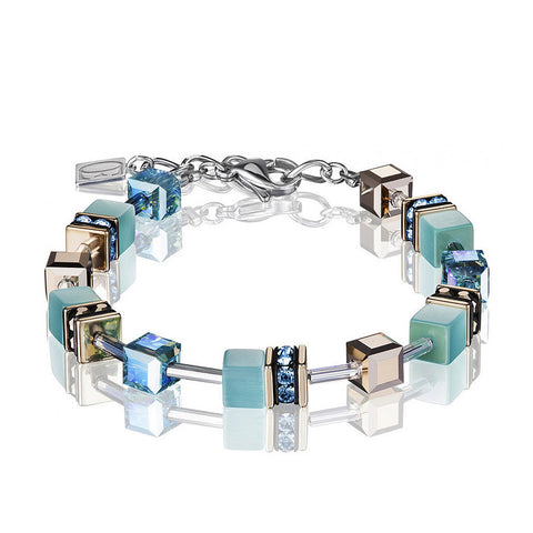 Coeur de Lion Cat Eye aqua/gold cubes and crystals bracelet