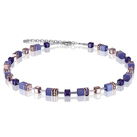 Coeur de Lion Cat Eye purple-gold cubes and crystals necklace