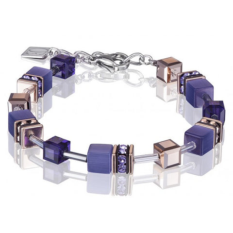 Coeur de Lion Cat Eye purple-gold cubes and crystals bracelet