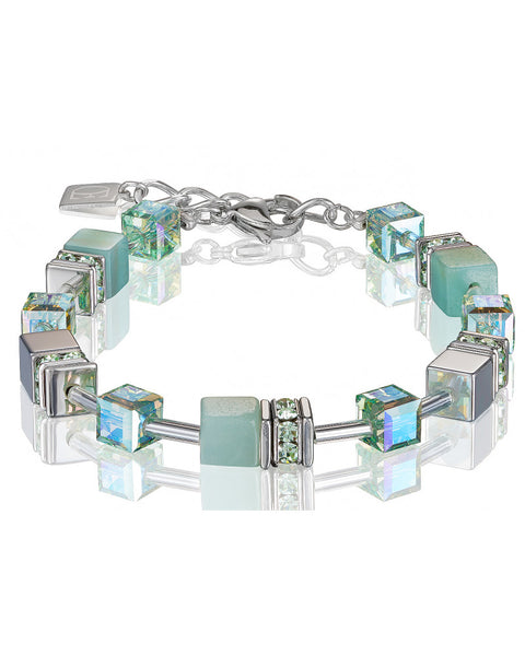 Coeur de Lion amazonite cubes and crystals bracelet