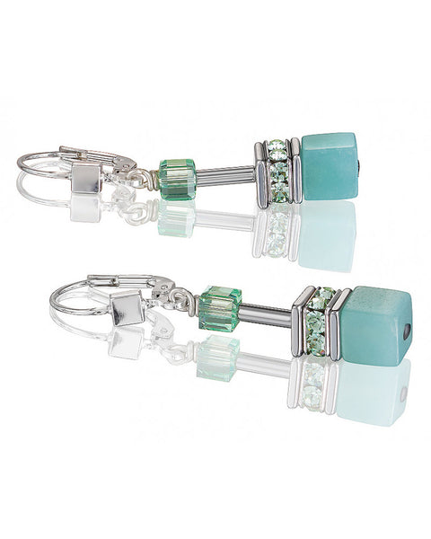 Coeur de Lion amazonite cubes and crystals earrings