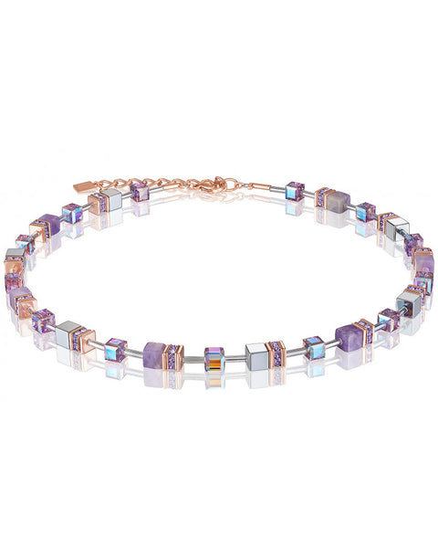 Coeur de Lion amethyst and gold cubes and crystals necklace