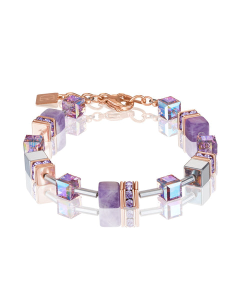 Coeur de Lion amethyst and gold cubes and crystals bracelet
