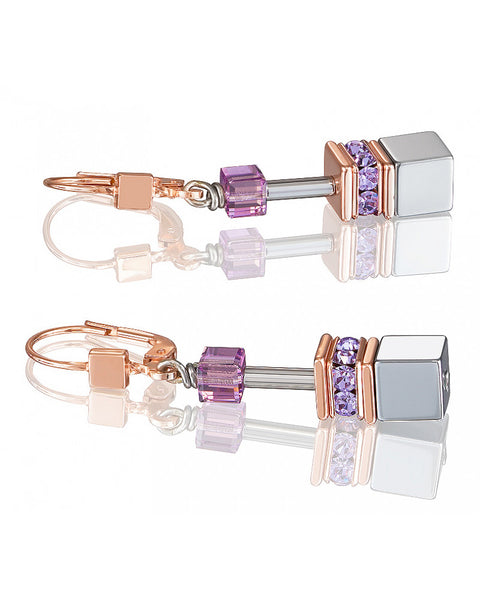 Coeur de Lion amethyst and gold cubes and crystals earrings