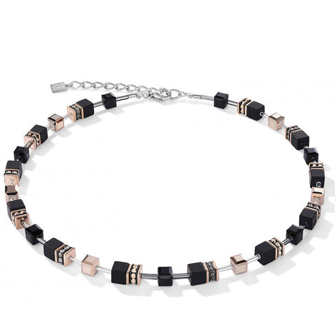 Coeur de Lion Cat Eye black and rose gold cubes and crystals necklace