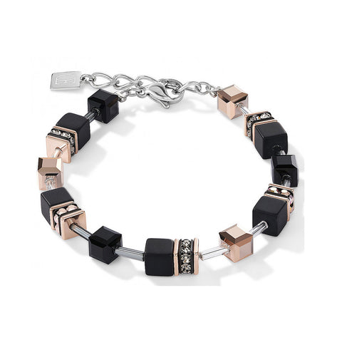 Coeur de Lion Cat Eye black and rose gold cubes and crystals bracelet