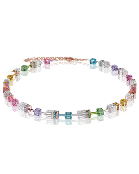 Coeur de Lion pastel multicolor cubes and crystals necklace