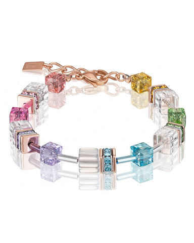 Coeur de Lion pastel multicolor cubes and crystals bracelet