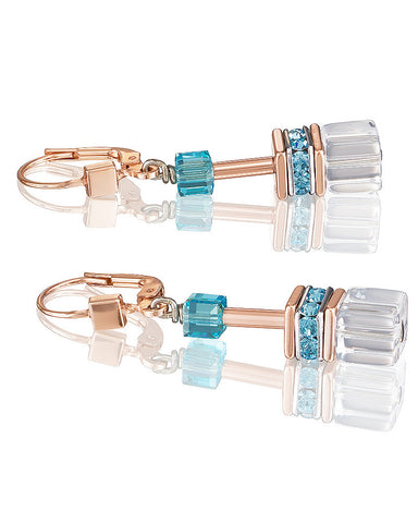 Coeur de Lion pastel multicolor cubes and crystals earrings