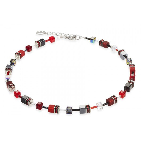 Coeur de Lion Cat Eye red-black cubes and crystals necklace