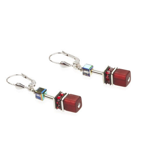 Coeur de Lion Cat Eye red-black cubes and crystals earrings