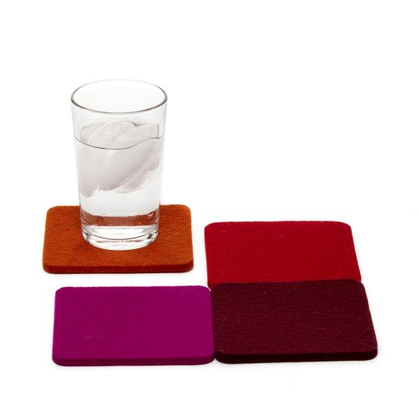 Merino wool square felt coasters, Reds, set of 4