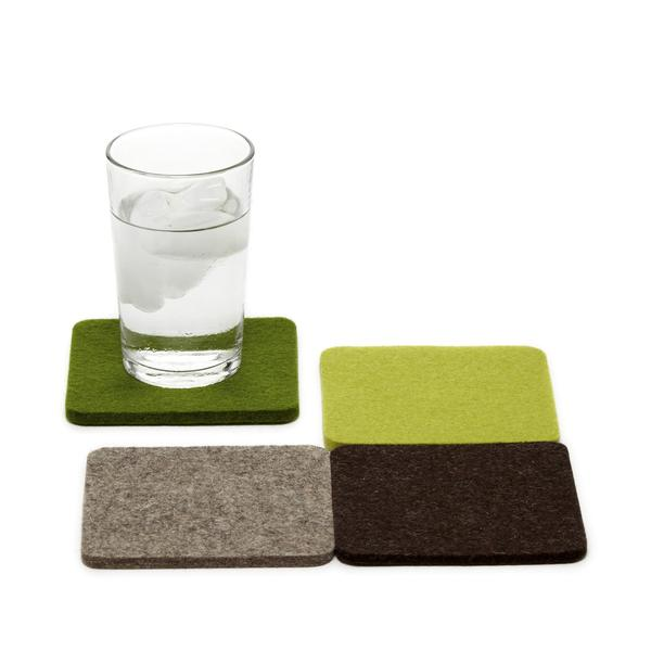 Merino wool square felt coasters, Forest, set of 4