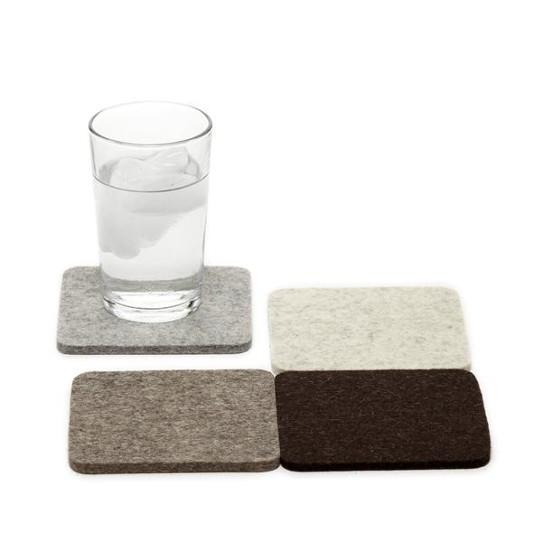 Merino wool square felt coasters, Earth, set of 4