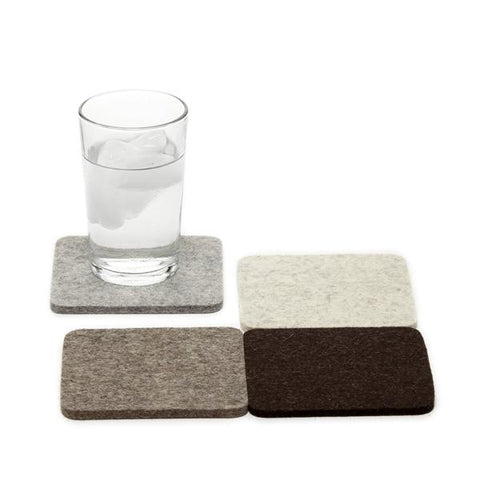 Merino wool felt coasters, Earth, set of 4