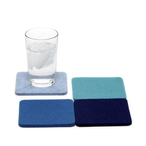 Merino wool felt coasters, Ocean, set of 4