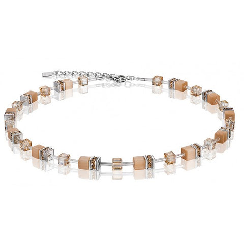 Coeur de Lion Cat Eye latte cubes and crystals necklace
