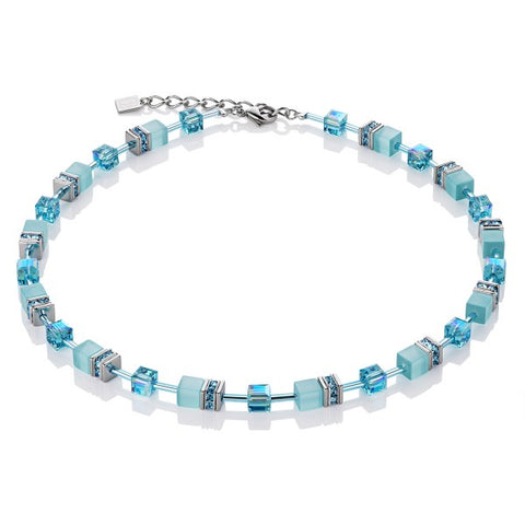 Coeur de Lion Cat Eye aqua cubes and crystals necklace