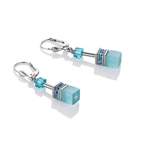 Coeur de Lion Cat Eye aqua cubes and crystals earrings