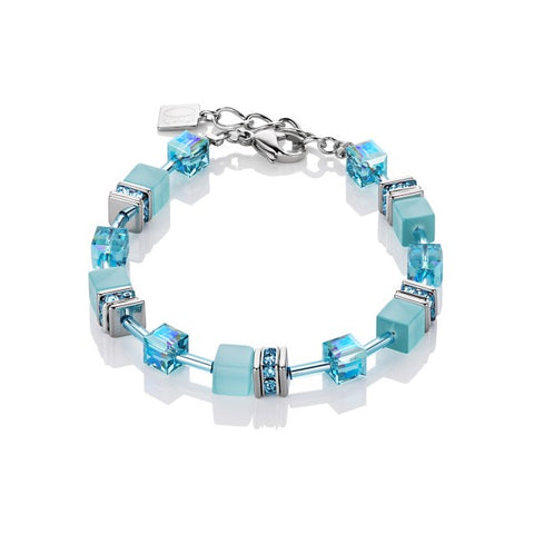 Coeur de Lion Cat Eye aqua cubes and crystals bracelet