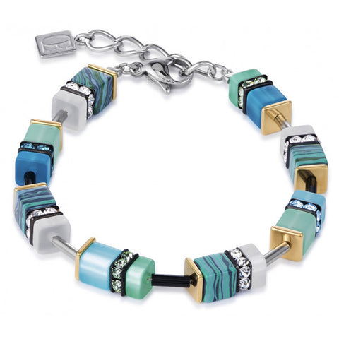 Coeur de Lion Cat Eye turquoise pressed glass cubes and crystals bracelet