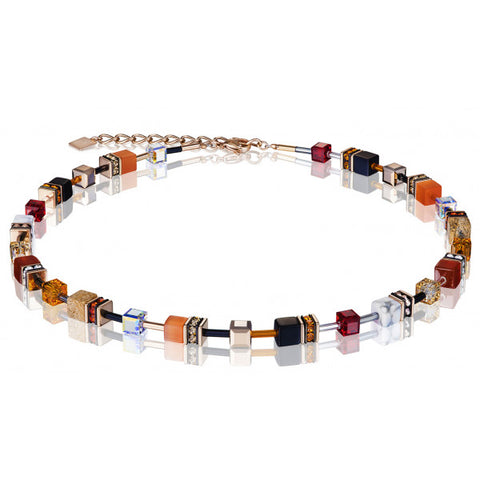 Coeur de Lion Cat Eye warm semi-precious stone cubes and crystals necklace