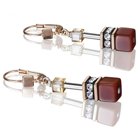 Coeur de Lion Cat Eye warm semi-precious stone cubes and crystals earrings