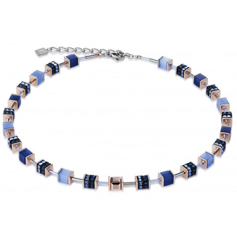 Coeur de Lion Cat Eye indigo blues cubes and crystals necklace
