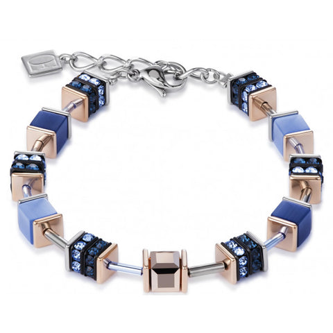 Coeur de Lion Cat Eye indigo blues cubes and crystals bracelet