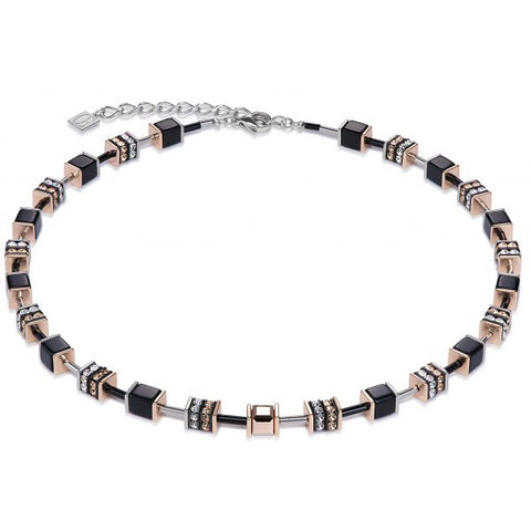 Coeur de Lion black and rose gold cubes and crystals necklace