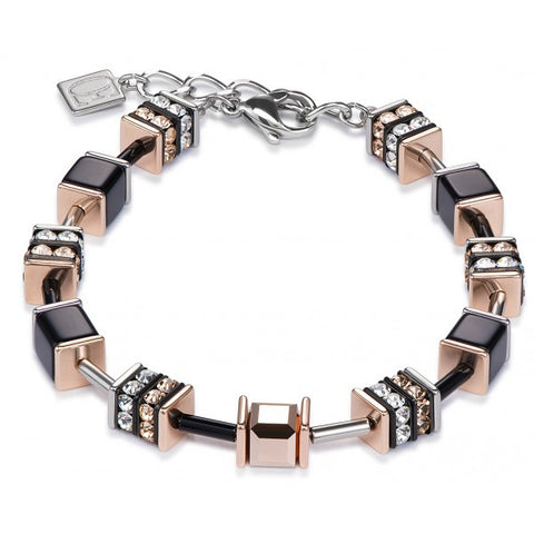 Coeur de Lion black and rose gold cubes and crystals bracelet