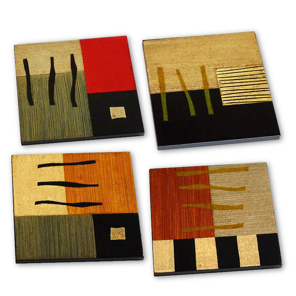 Hand-painted wood coasters from Brazil, set of 4