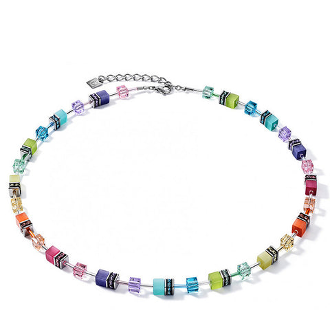 Coeur de Lion Cat Eye multicolor cubes and crystals necklace, 2021 edition