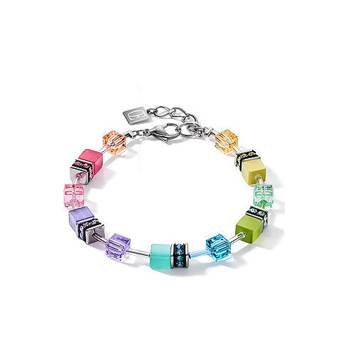 Coeur de Lion Cat Eye multicolor cubes and crystals bracelet, 2021 edition
